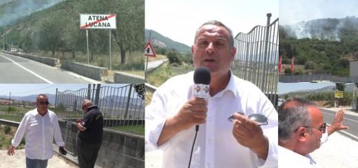 COLLAGE INCENDIO ATENA LUCANA RABBIA SINDACO IUZZOLINO