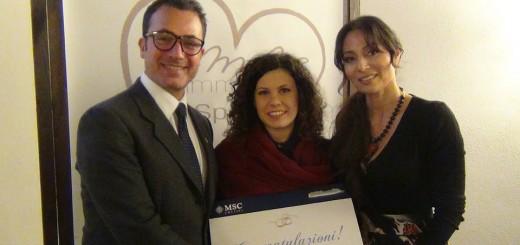 da sinistra Alfio Di Giacomo MSC Crociere, Piera Villapiana vincitrice Crociera, Cira Lombardo wedding planner