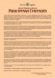 MANIFESTO RINGRAZIAMENTO PRINCIPESSA COSTANZA 2018